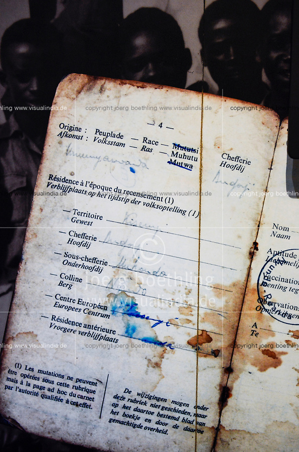 RWANDA, Kigali, Kigali Genocide Memorial , a museum and memorial to remember the genocide of 1994 where about 1 million Tutsi were murdered by Hutu, image of passport from belgian colonial time with a marking of the race Muhutu / RUANDA, Kigali, Voelkermorddenkmal, Museum, Denkmal und Ruhestaette fuer 250.000 Opfer des Genozids an der Tutsi Bevoelkerungsgruppe im Jahr 1994, Kigali Genocide Memorial, Pass aus der belgischen Kolonialzeit mit Eintrag der Volksgruppe
