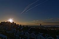 2018 03 20 Sun rises over Swansea Bay, SPring Equinox, Wales, UK