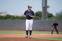 AZL Padres 2 starting pitcher Jefferson Garcia (44) prepares to deliver a pitch during an Arizona League game against the AZL Padres 1 at Peoria Sports Complex on July 14, 2018 in Peoria, Arizona. The AZL Padres 1 defeated the AZL Padres 2 4-0. (Zachary Lucy/Four Seam Images)
