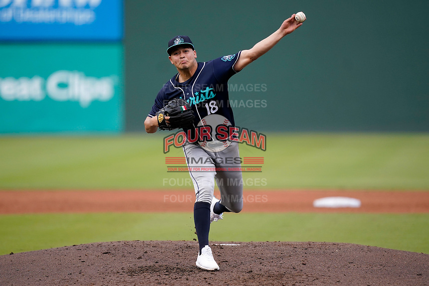 Pitcher Juan Pablo Lopez (18) of the Asheville Tourists in a game against the Greenville Drive on Wednesday, June 2, 2021, at Fluor Field at the West End in Greenville, South Carolina. (Tom Priddy/Four Seam Images)