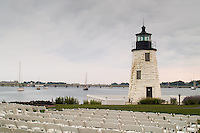 Chairs are carefully placed for a reception in front of the Goat Island Lighthouse