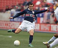Chris Klein kicks the ball at Pizza Hut Park in Frisco, Texas, Sunday, Feb. 19, 2005.  USA won 4-0.
