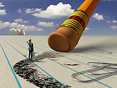 Man on path being erased by pencil