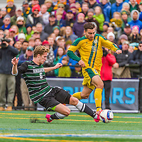 15 November 2015: Binghamton University Bearcat Midfielder Mike Kubik, a Junior from Wallington, NJ, battles University of Vermont Catamount Forward/Midfielder Stefan Lamanna, a Junior from Pickering, Ontario, at Virtue Field in Burlington, Vermont. The Bearcats fell to the Catamounts 1-0 in the America East Championship Game. Mandatory Credit: Ed Wolfstein Photo *** RAW (NEF) Image File Available ***