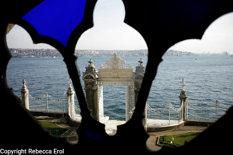 VIEW FROM DOLMABAHCE PALACE OUT TO THE BOSPHORUS, ISTANBUL, TURKEY