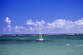 Bahia, Brazil. A traditional sailing boat anchored inside the reef; three swimmers in a tourquoise sea.