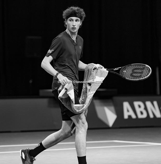 Rotterdam, The Netherlands, 2 march  2021, ABNAMRO World Tennis Tournament, Ahoy, First round match: Ugo Humbert (FRA).<br /> Photo: www.tennisimages.com/henkkoster