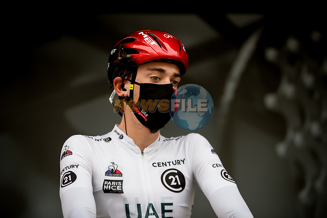White Jersey Brandon McNulty (USA) UAE Team Emirates at sign on before Stage 5 of Paris-Nice 2021, running 200km from Vienne to Bollene, France. 11th March 2021.<br /> Picture: ASO/Fabien Boukla | Cyclefile<br /> <br /> All photos usage must carry mandatory copyright credit (© Cyclefile | ASO/Fabien Boukla)