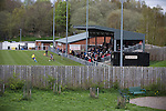 Cefn Druids AFC 1 Buckley Town 0, 12/04/2014. The Rock, Cymru Alliance league. Action from the first half at The Rock, Rhosymedre, home to Cefn Druids AFC, during the club's final home game of the season against Buckley Town (in yellow) in the Cymru Alliance league. Druids, reputedly the oldest football club in Wales, won the Alliance league the previous week and were awarded the trophy after the Buckley Town match, which they won by 1 goal to nil, watched by a crowd of 246. The Cymru Alliance was the second tier of Welsh football based in north and mid Wales, promotion from which led directly into the Welsh Premier League. Photo by Colin McPherson.