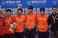 SPEEDSKATING: 22-11-2019 Tomaszów Mazowiecki (POL), ISU World Cup Arena Lodowa, Podium Team Sprint Men (NED), Kjeld Nuis, Thomas Krol, Ronald Mulder, ©photo Martin de Jong