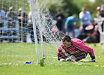 Rob Shier of Newmarket Celtic A recovers after he dives into the back of the net while going for a ball during their Clare Cup Final win over over Bridge United A at Frank Healy Park. Photograph by John Kelly.