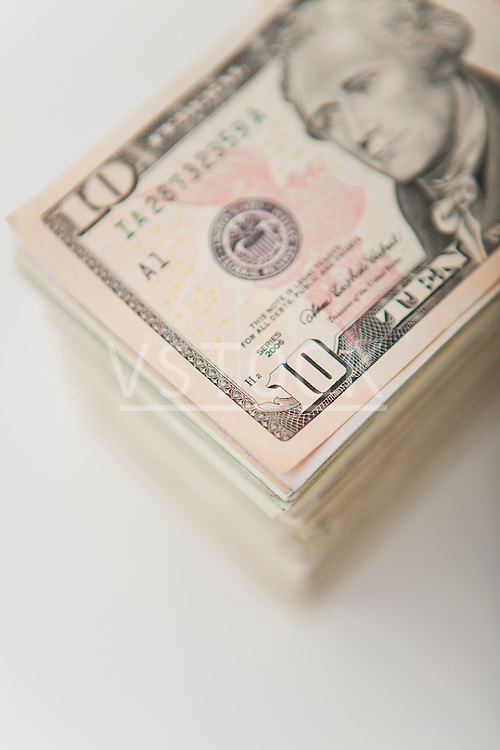 USA, Illinois, Metamora, Studio shot of stack of American banknotes