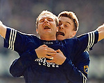 Paul Gascoigne and David Robertson celebrate as Gazza scores his second of three goals in the match against Aberden to seal the league championship for Rangers