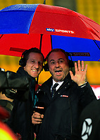 Skysport's Will Greenwood (left) and Scott Quinnell enjoy the weather before the 2017 DHL Lions Series 2nd test rugby match between the NZ All Blacks and British & Irish Lions at Westpac Stadium in Wellington, New Zealand on Saturday, 1 July 2017. Photo: Dave Lintott / lintottphoto.co.nz