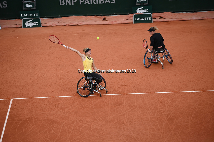 Paris, France, 10 /10/ 2020, Tennis, French Open, Roland Garros,  Womans Wheelchair Doubles: Final winners Aniek van Koot (NED) and Dide de Groot (NED)  (L) <br /> Photo: tennisimages.com
