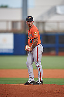 Baltimore Orioles pitcher J.J. Montgomery (87) gets ready to deliver a pitch during a Florida Instructional League game against the Tampa Bay Rays on October 1, 2018 at the Charlotte Sports Park in Port Charlotte, Florida.  (Mike Janes/Four Seam Images)