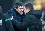 St Johnstone v Hibernian…27.02.19…  McDiarmid Park    SPFL<br />Tommy Wright greets new Hibs boss Paul Heckinbottam<br />Picture by Graeme Hart. <br />Copyright Perthshire Picture Agency<br />Tel: 01738 623350  Mobile: 07990 594431