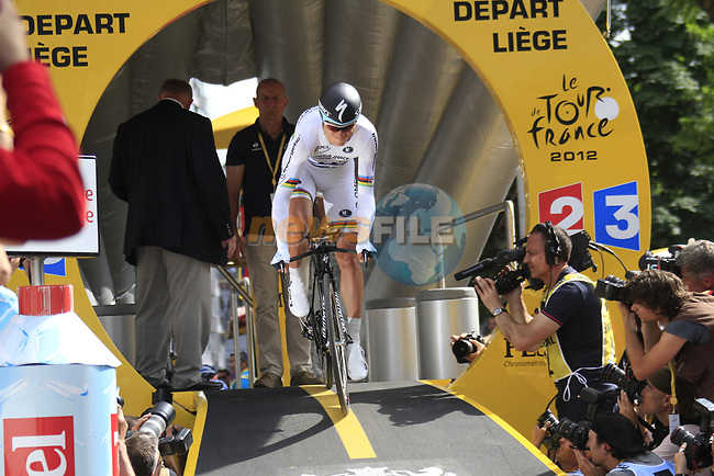World Time Trial Champion Tony Martin (GER) Omega Pharma-Quick Step powers off the start ramp of the Prologue of the 99th edition of the Tour de France 2012, a 6.4km individual time trial starting in Parc d'Avroy, Liege, Belgium. 30th June 2012.<br /> (Photo by Eoin Clarke/NEWSFILE)