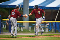 Mahoning Valley Scrappers Anthony Santander (27) shakes hands with manager Travis Fryman (17) after hitting a home run during a game against the Batavia Muckdogs on June 22, 2015 at Dwyer Stadium in Batavia, New York.  Mahoning Valley defeated Batavia 15-11.  (Mike Janes/Four Seam Images)