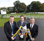 Derek Johnstone, Kristof Fahey of William Hill and Campbell Ogilvie with the Scottish Cup