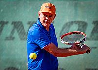 Hilversum, The Netherlands,  August 18, 2020,  Tulip Tennis Center, NKS, National Senior Championships, Men's single 70+ ,  Frank van Lerven (NED) <br /> Photo: www.tennisimages.com/Henk Koster