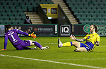 Hibs v St Johnstone…24.11.20   Easter Road      SPFL<br />Stevie May shows his frustration after failing to connect with a Scott Tanser cross<br />Picture by Graeme Hart.<br />Copyright Perthshire Picture Agency<br />Tel: 01738 623350  Mobile: 07990 594431