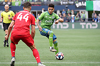 SEATTLE, WA - NOVEMBER 10: Raul Ruidiaz #9 of the Seattle Sounders FC plays the ball during a game between Toronto FC and Seattle Sounders FC at CenturyLink Field on November 10, 2019 in Seattle, Washington.