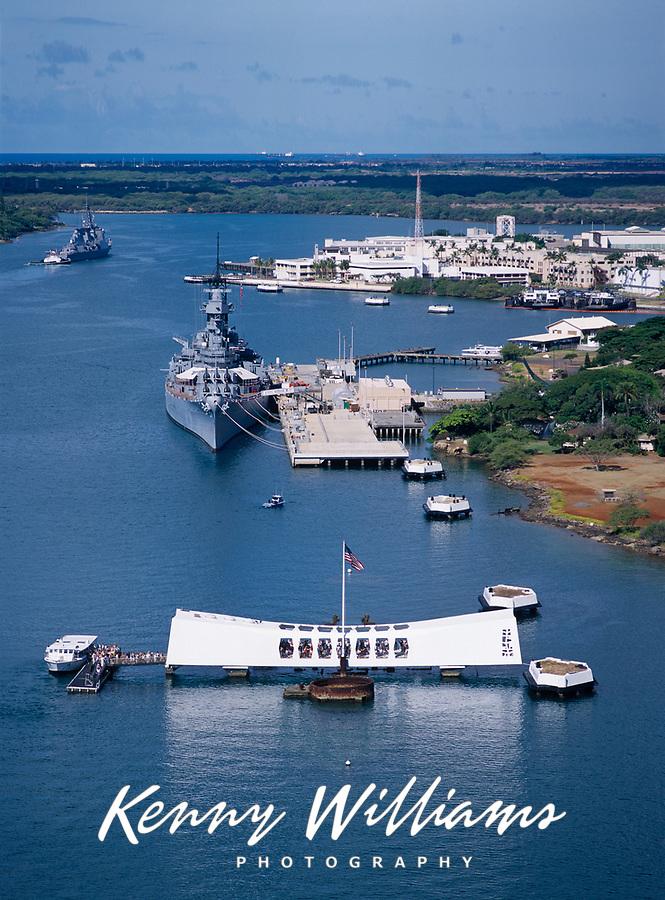 Arizona Memoral & USS Missouri Battleship, Aerial View, Pearl Harbor, Oahu, Hawaii, USA.