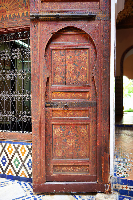 Arabesque Moorish painted door panel of the Dar Jamai Museum  a typical dwellings of high Moroccan bourgeoisie at the end of XIX century. located in the old Medina built by Mohamed Ben Larbi Jamai grend vizier of Sultan Moulay Hassan (1873-1894). Meknes, Morocco