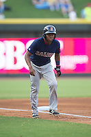 Manuel Margot (2) of the Salem Red Sox takes his lead off of third base against the Winston-Salem Dash at BB&T Ballpark on June 18, 2015 in Winston-Salem, North Carolina.  The Red Sox defeated the Dash 8-2.  (Brian Westerholt/Four Seam Images)