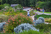 Visitors touring Crescent Farm, sustainable demonstation garden; Los Angeles County Arboretum and Botanic Garden