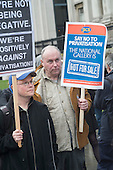 National Gallery staff at a march and rally in Trafalgar Square, London, during a five-day strike by PCS members following a decision to privatise their jobs.