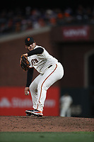 SAN FRANCISCO, CA - OCTOBER 9:  Kervin Castro #76 of the San Francisco Giants pitches against the Los Angeles Dodgers during Game 2 of the NLDS at Oracle Park on Saturday, October 9, 2021 in San Francisco, California. (Photo by Brad Mangin)