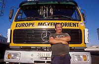 - driver of German truck waiting for the ferry going to Greece in Brindisi....- autista di camion tedesco in attesa del traghetto per la Grecia a Brindisi