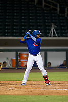 AZL Cubs left fielder Nelson Velazquez (20) at bat against the AZL Padres 2 on August 28, 2017 at Sloan Park in Mesa, Arizona. AZL Cubs defeated the AZL Padres 2 9-4. (Zachary Lucy/Four Seam Images)