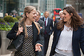 Sian Berry and Joanna Slota-Newson.  Launch of Polysolar photovoltaic bus shelter, Canary Wharf, London.
