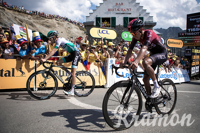 Emanuel Buchmann (DEU/Bora Hansgrohe) and Egan Bernal (COL/Ineos) finishing 4th and 5th place on top of the Tourmalet.<br /> <br /> Stage 14: Tarbes to Tourmalet (117km)<br /> 106th Tour de France 2019 (2.UWT)<br /> <br /> ©kramon