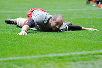 Steve Borthwick of Saracens stretches before the Aviva Premiership match between Saracens and Harlequins at Wembley Stadium on Saturday 31st March 2012 (Photo by Rob Munro)