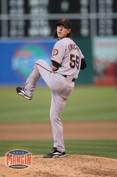 OAKLAND, CA - JUNE 23:  Tim Lincecum #55 of the San Francisco Giants pitches against the Oakland Athletics during the game at the Oakland-Alameda County Coliseum on June 23, 2009 in Oakland, California. Photo by Brad Mangin