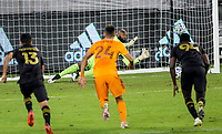 CARSON, CA - OCTOBER 28: Kenneth Vermeer #1 of the Los Angeles FC makes a save during a game between Houston Dynamo and Los Angeles FC at Banc of California Stadium on October 28, 2020 in Carson, California.
