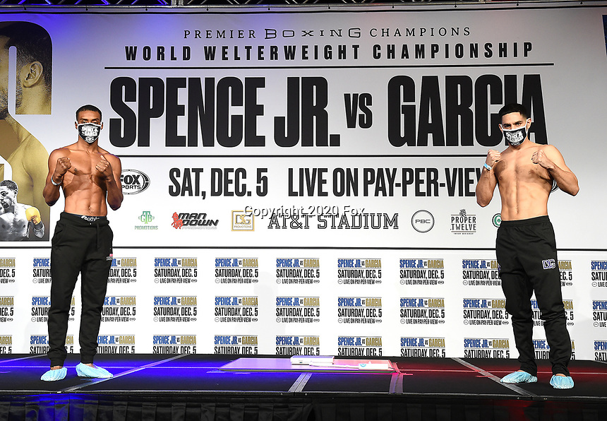 DALLAS, TX - DECEMBER 4: Errol Spence Jr. (L) and Danny Garcia attend the weigh-in for the Errol Spence Jr. vs Danny Garcia December 5, 2020 Fox Sports PBC Pay-Per-View fight night at AT&T Stadium in Arlington, Texas. (Photo by Frank Micelotta/Fox Sports)