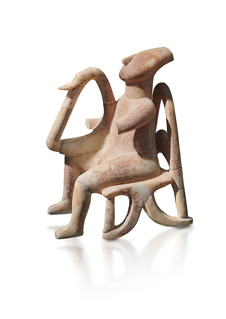 The 'Harpist of Keros' a seated parian marble female Cycladic figurine. Early Cycladic Period II (2800-2300 BC) from Keros, Cat no 3908. National Archaeological Museum, Athens.   White background.<br /> <br /> <br /> This elaborate three dimesional Cyladic statue known as the 'Harpist of Keros' depicts a seated figure plaung a harp. Its execution required an experienced workshop that could file away the parian marble with gronze tools.