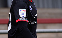 A close up of the EFL Sky Bet League One badge and the 'not today, not any day' anti-racism badge on the sleeve of the shirt worn by Lincoln City's Jorge Grant<br /> <br /> Photographer Chris Vaughan/CameraSport<br /> <br /> The EFL Sky Bet League One - Fleetwood Town v Lincoln City - Saturday 17th October 2020 - Highbury Stadium - Fleetwood<br /> <br /> World Copyright © 2020 CameraSport. All rights reserved. 43 Linden Ave. Countesthorpe. Leicester. England. LE8 5PG - Tel: +44 (0) 116 277 4147 - admin@camerasport.com - www.camerasport.com