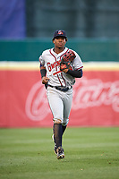 Gwinnett Braves left fielder Ronald Acuna (24) jogs to the dugout during a game against the Buffalo Bisons on August 19, 2017 at Coca-Cola Field in Buffalo, New York.  Gwinnett defeated Buffalo 1-0.  (Mike Janes/Four Seam Images)