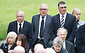 Tommy McLean, Andy Cameron and Jim Stewart arrive at Mortonhall Crematorium for the funeral service of Sandy Jardine.