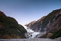 Franz Josef Glacier at sunset, Westland Tai Poutini National Park, West Coast, UNESCO World Heritage Area, New Zealand, NZ