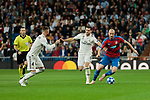 Real Madrid's Sergio Ramos (L) and Nacho Fernandez (R) and FC Viktoria Plzen's Michael Krmencik during UEFA Champions League match between Real Madrid and FC Viktoria Plzen at Santiago Bernabeu Stadium in Madrid, Spain. October 23, 2018. (ALTERPHOTOS/A. Perez Meca)