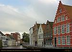Canal Scene: Verversdijk and Sint-Annarei, Bruges, Brugge, Belgium