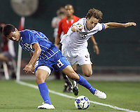 Steve Cherundolo #6 of the USA battles with David Molina #3 of Honduras during a CONCACAF Gold Cup match at RFK Stadium on July 8 2009 in Washington D.C. USA won 2-0.