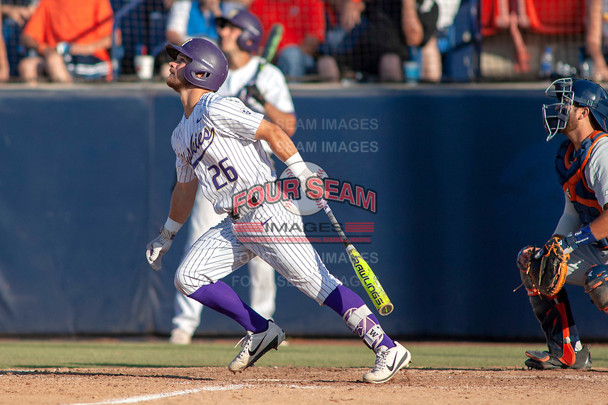 University of Washington Huskies Levi Jordan (26) in action against the against the Cal State Fullerton Titans at Goodwin Field on June 09, 2018 in Fullerton, California. The Cal State Fullerton Titans defeated the University of Washington Huskies 5-2. (Donn Parris/Four Seam Images)